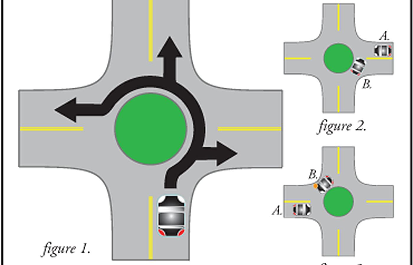 stopping at a roundabout in a manual car