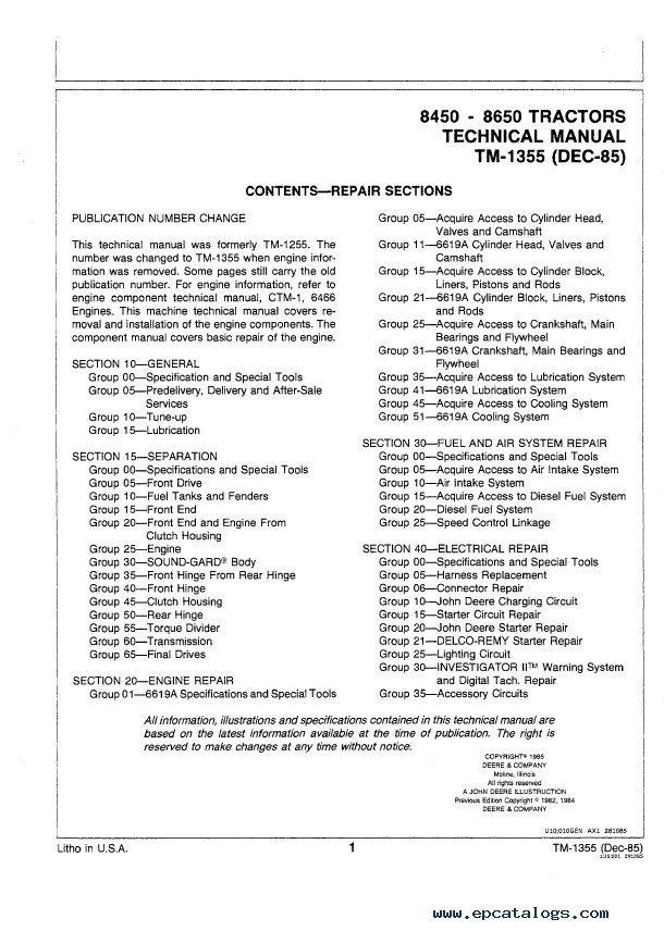 john deere 8450 repair manual