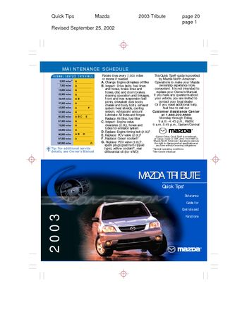 mazda tribute 2003 manual experiences