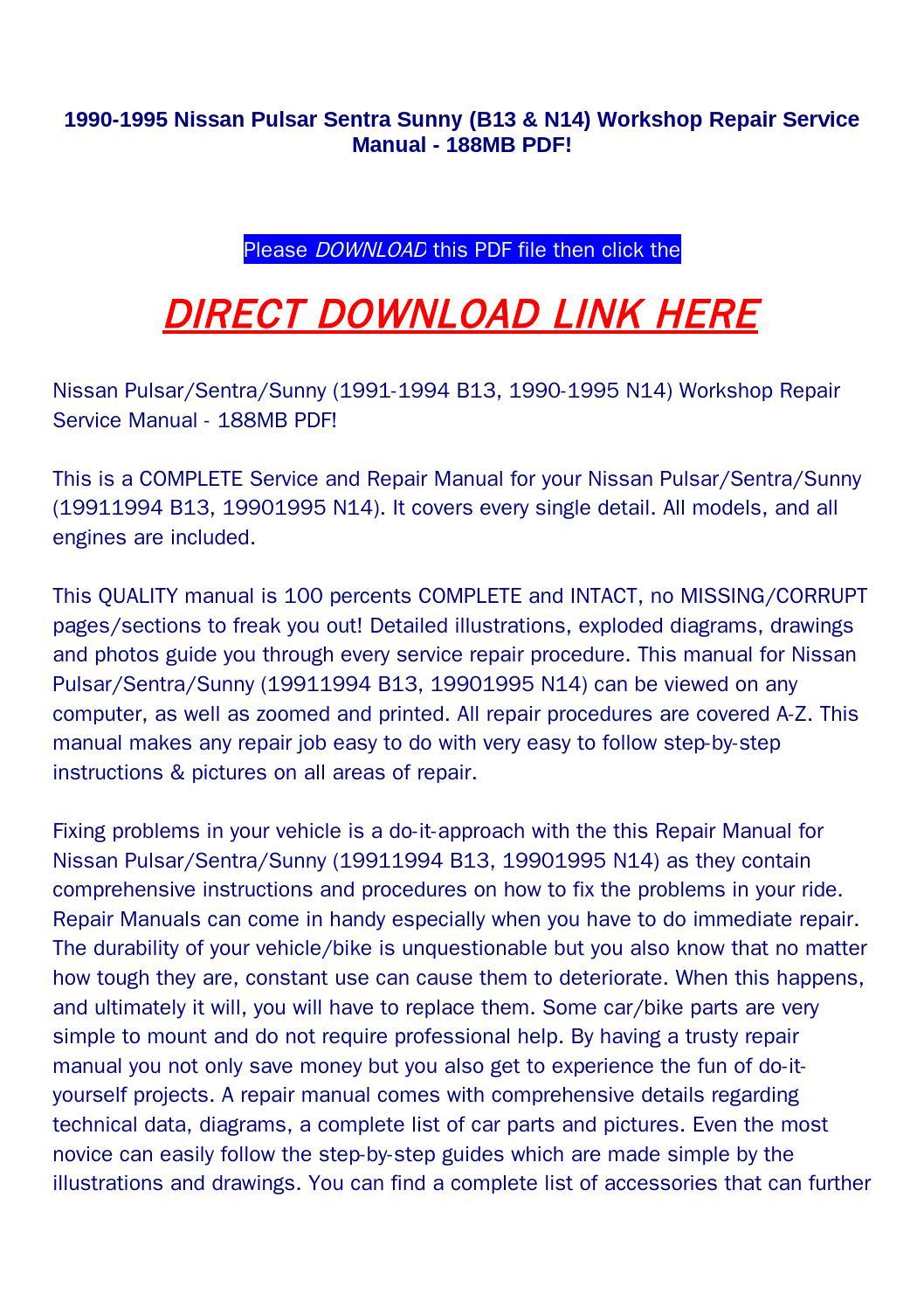 nissan pulsar n14 repair manual download