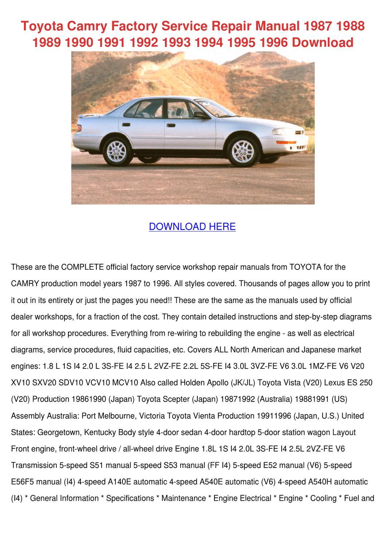 toyota service manual 1993 apoollo
